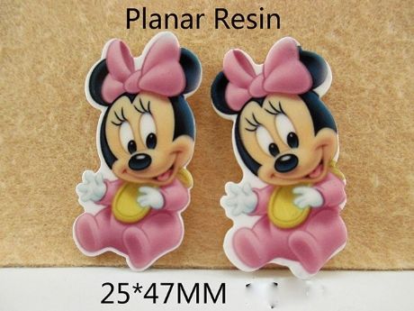 5 x 25mm PINK BABY MINNIE MOUSE LASER CUT FLAT BACK RESIN HEADBANDS HAIR BOWS CARD MAKING